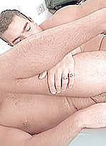 Moustached Latin hunk jacking off while getting ri