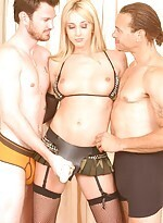 Kelly Wells rocking a strap on cock and let two gu
