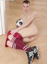 Soccer play Mike James stroking his hard cock.